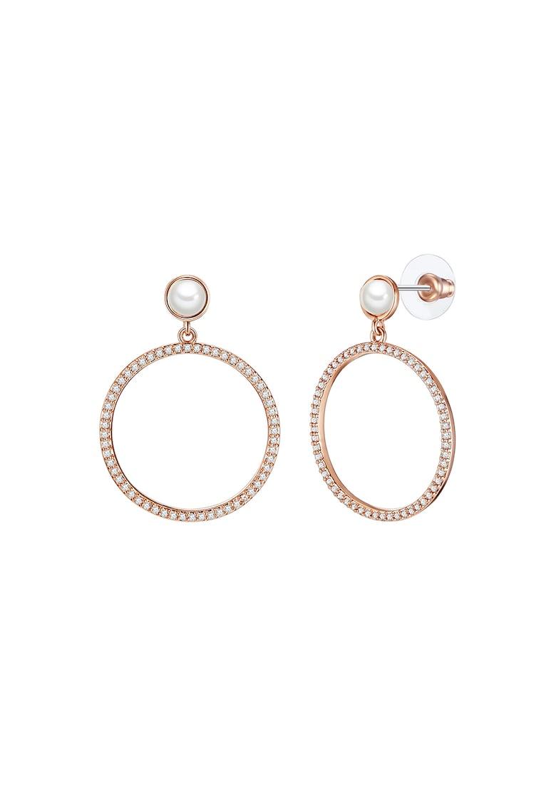 Cercei placati cu aur rose de 18K si cu perle sintetice