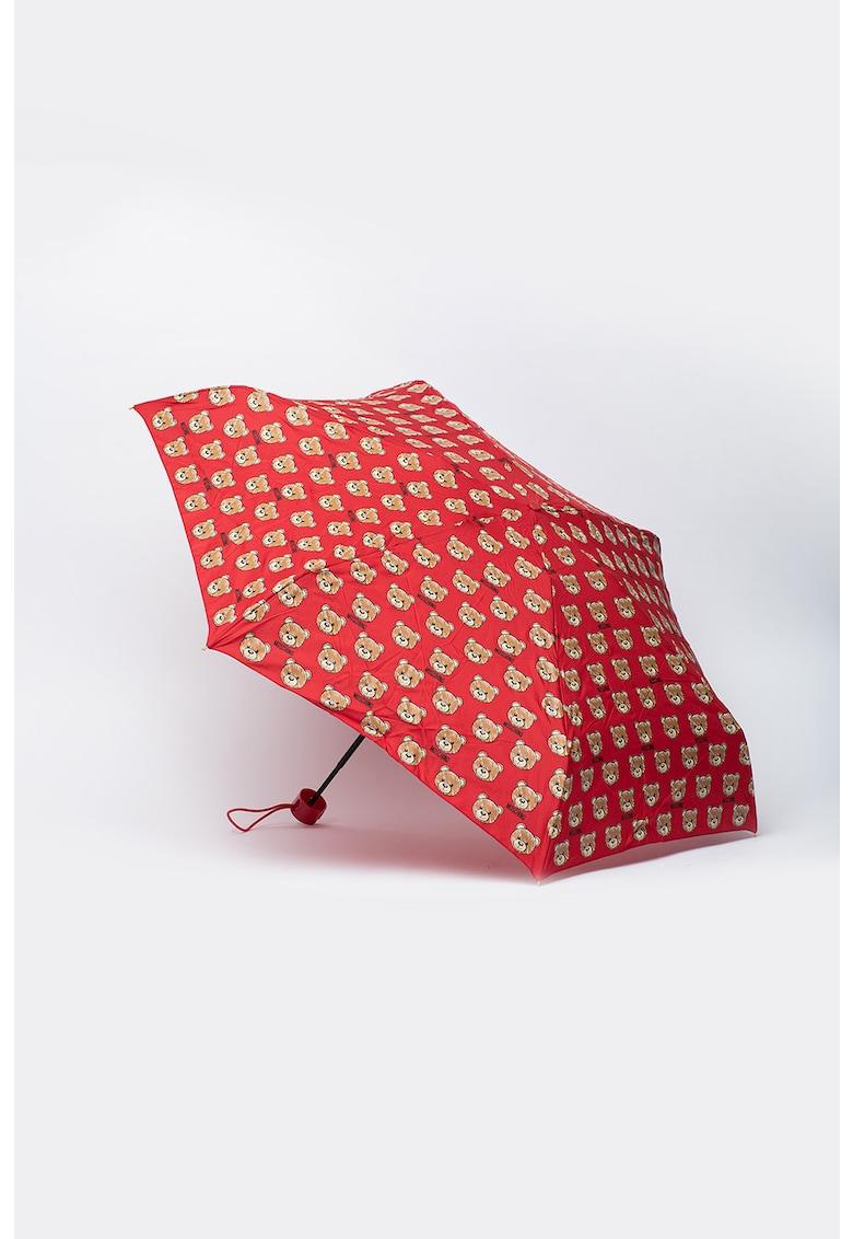 Umbrela pliabila manual cu imprimeu logo Brush Bear Allover imagine