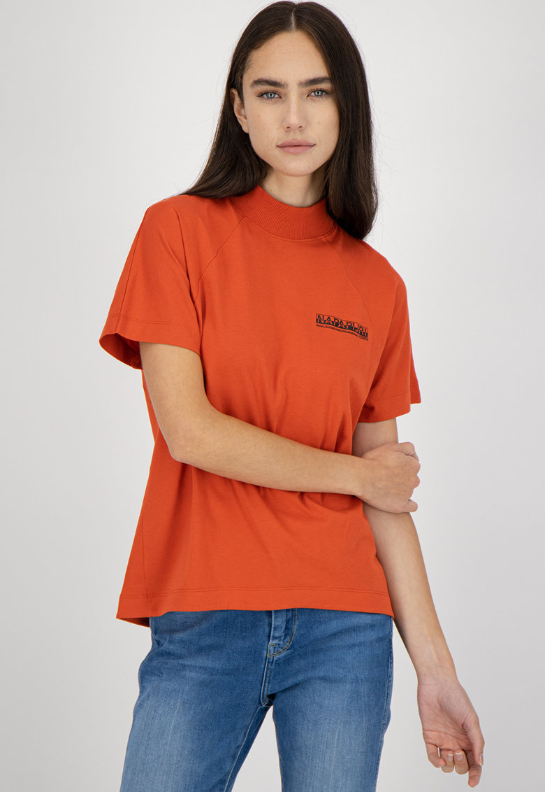 Tricou cu imprimeu logo si maneci raglan Napapijri fashiondays.ro
