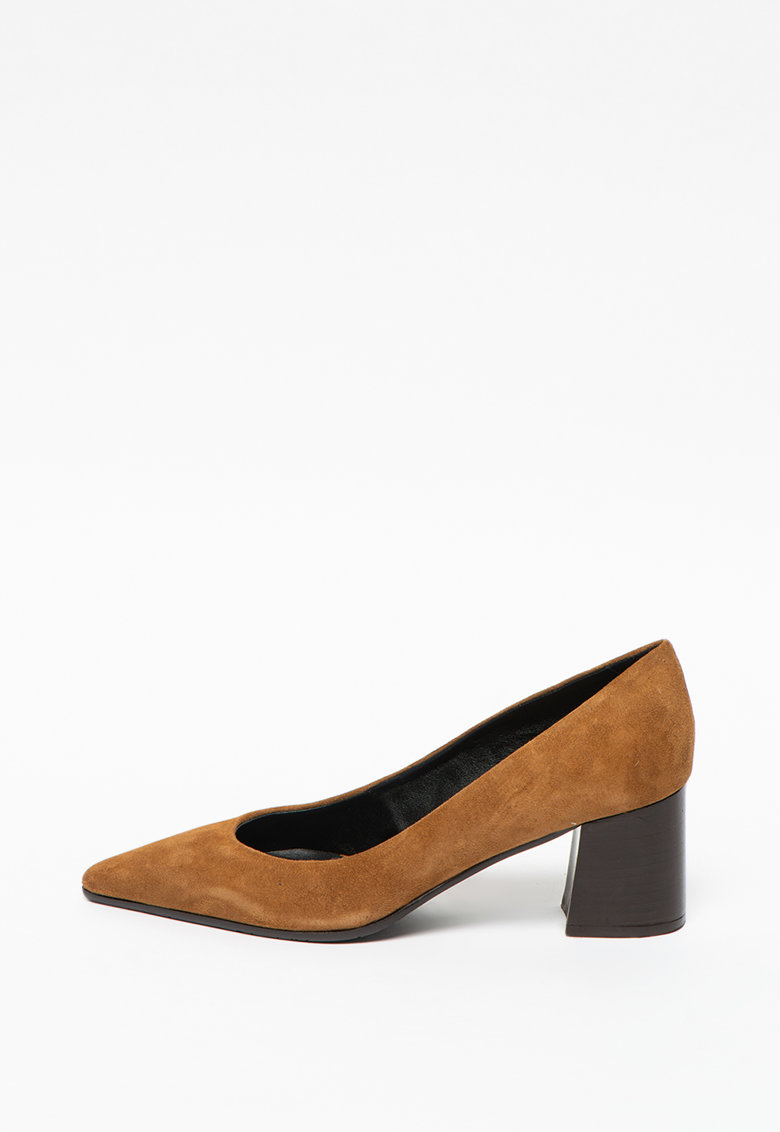 Pantofi de piele nabuc cu toc masiv Atene imagine promotie