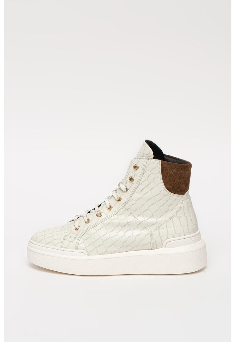 Pantofi sport high-cut din piele ecologica cu talpa wedge si insertii din piele intoarsa