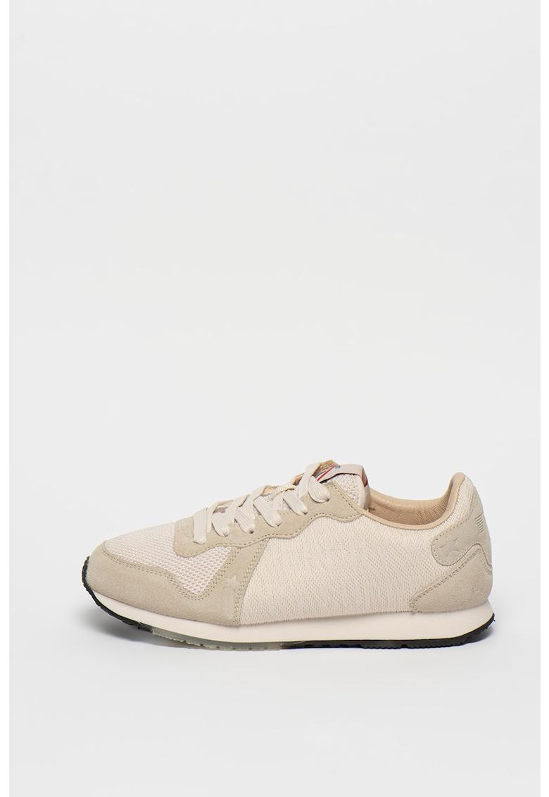Pantofi sport cu garnituri din piele intoarsa Retro Logo Runner