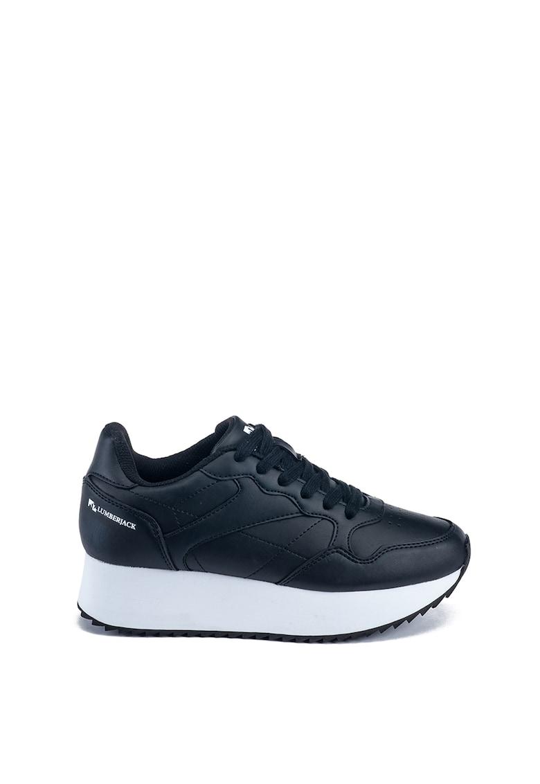 Pantofi sport din piele ecologica cu talpa wedge