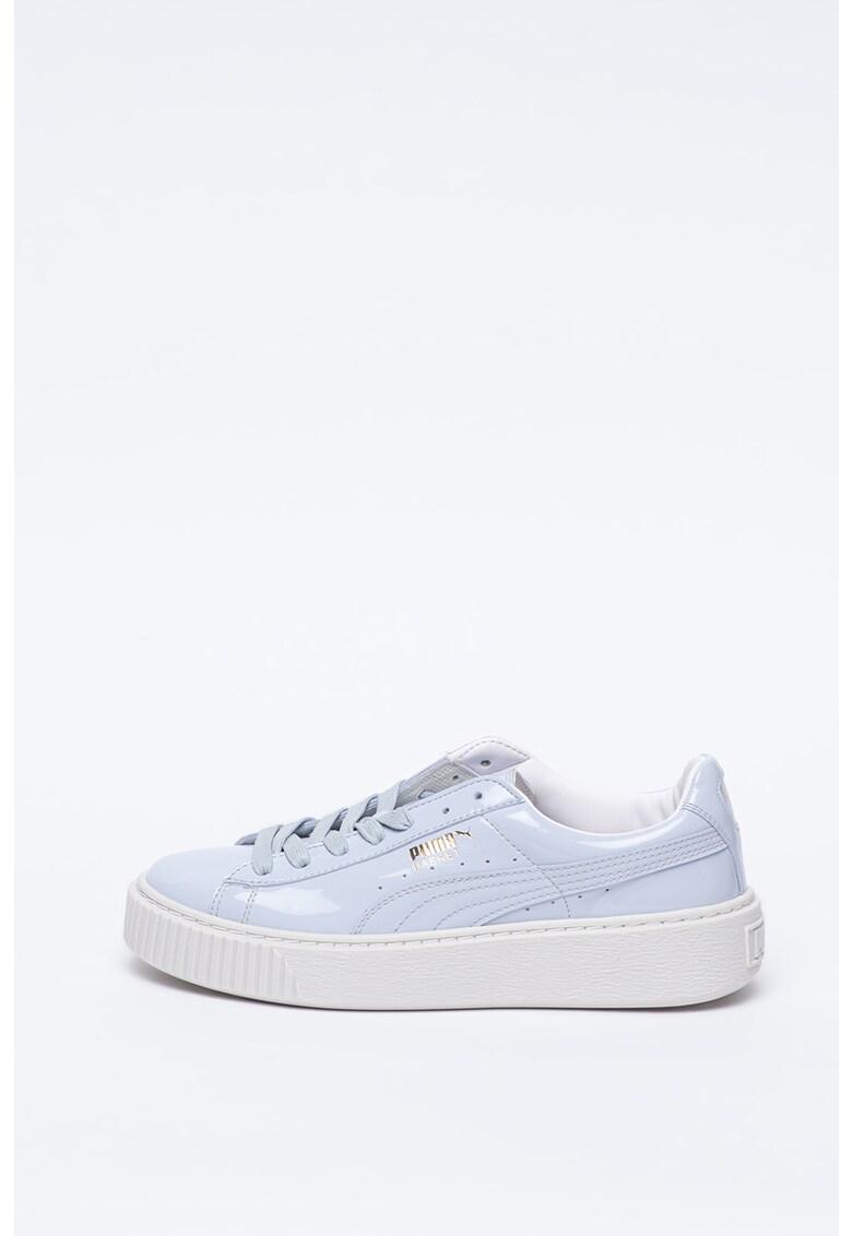 Pantofi sport flatform din piele ecologica cu aspect lacuit Basket