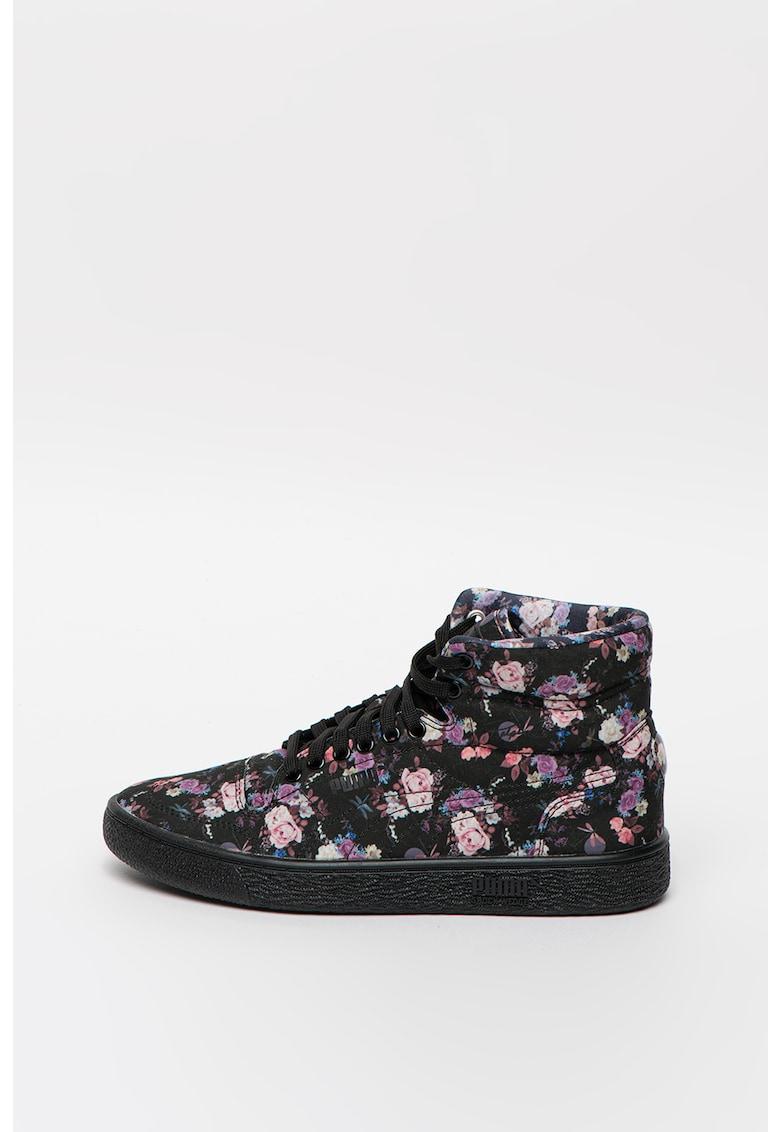 Pantofi sport mid-cut cu imprimeu floral