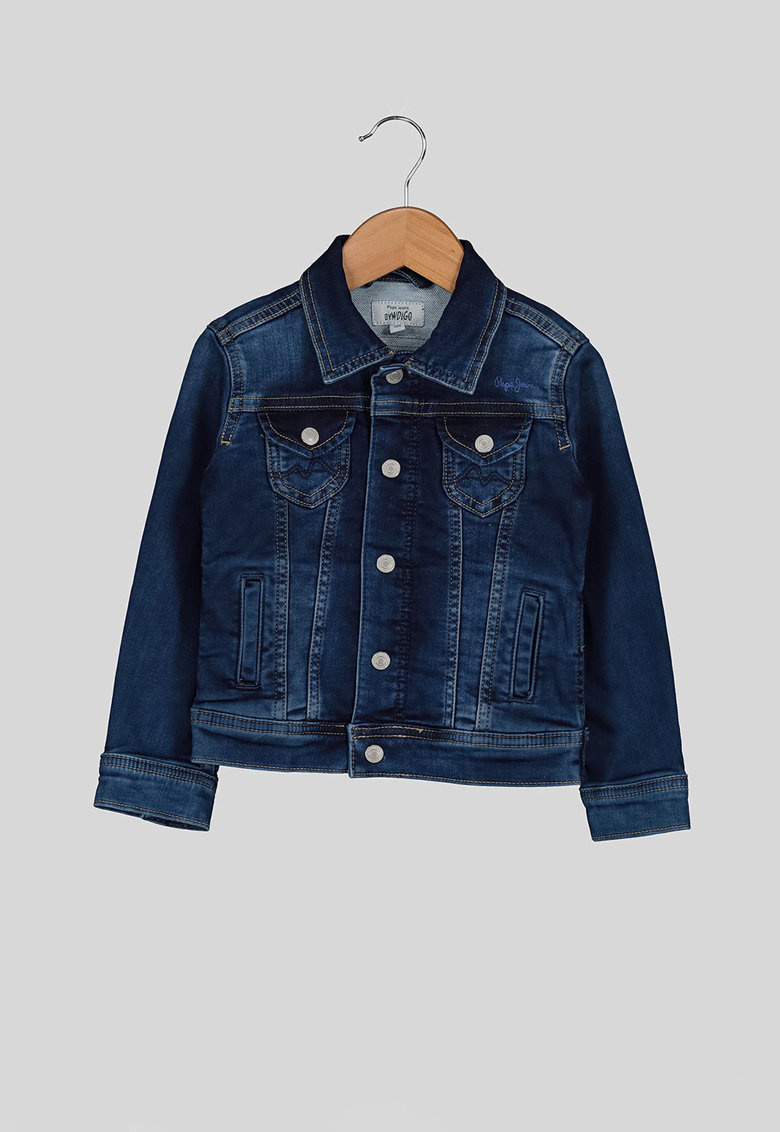 Jacheta din denim cu buzunare cu clapa