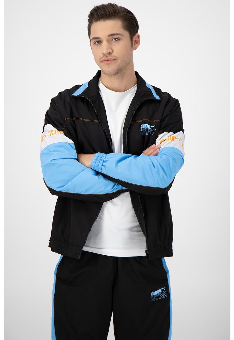 Bluza sport cu fermoar si detaliu logo pe piept Tetris Track imagine fashiondays.ro