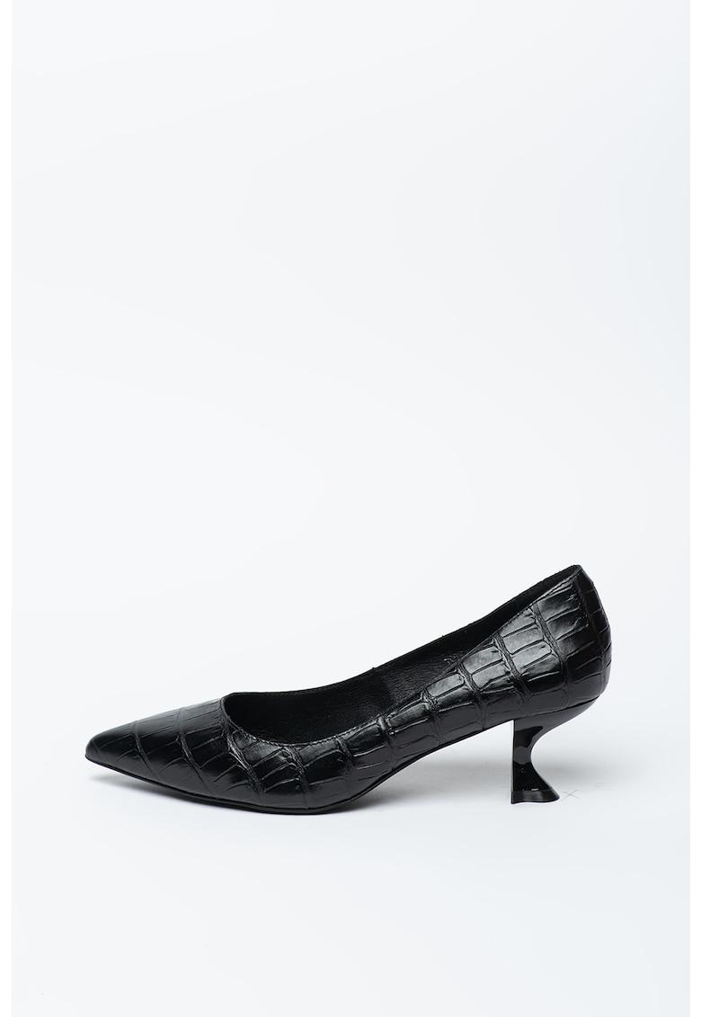 Pantofi de piele ecologica cu toc kitten Totem