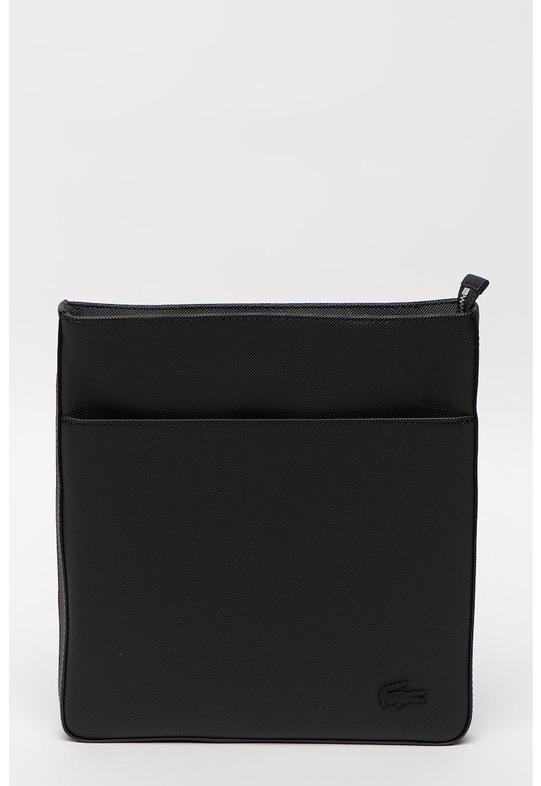 Geanta crossbody cu aspect texturat si aplicatie logo