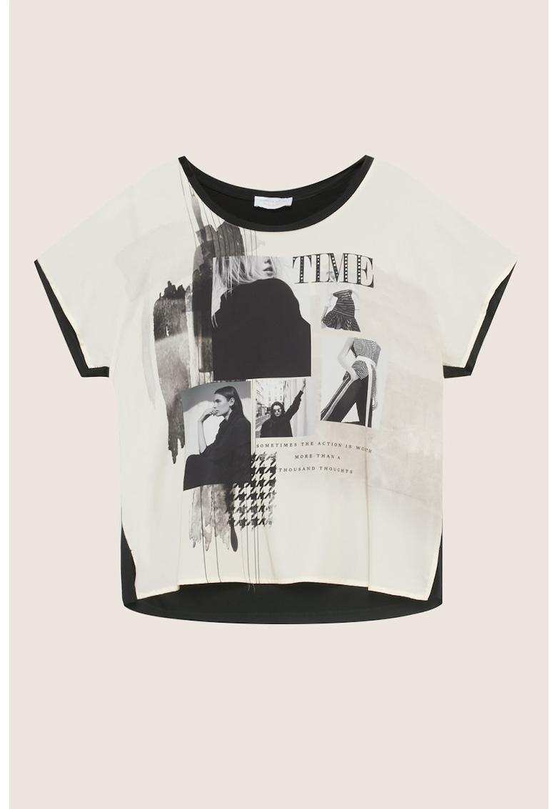 Bluza cu maneci scurte si imprimeu foto imagine