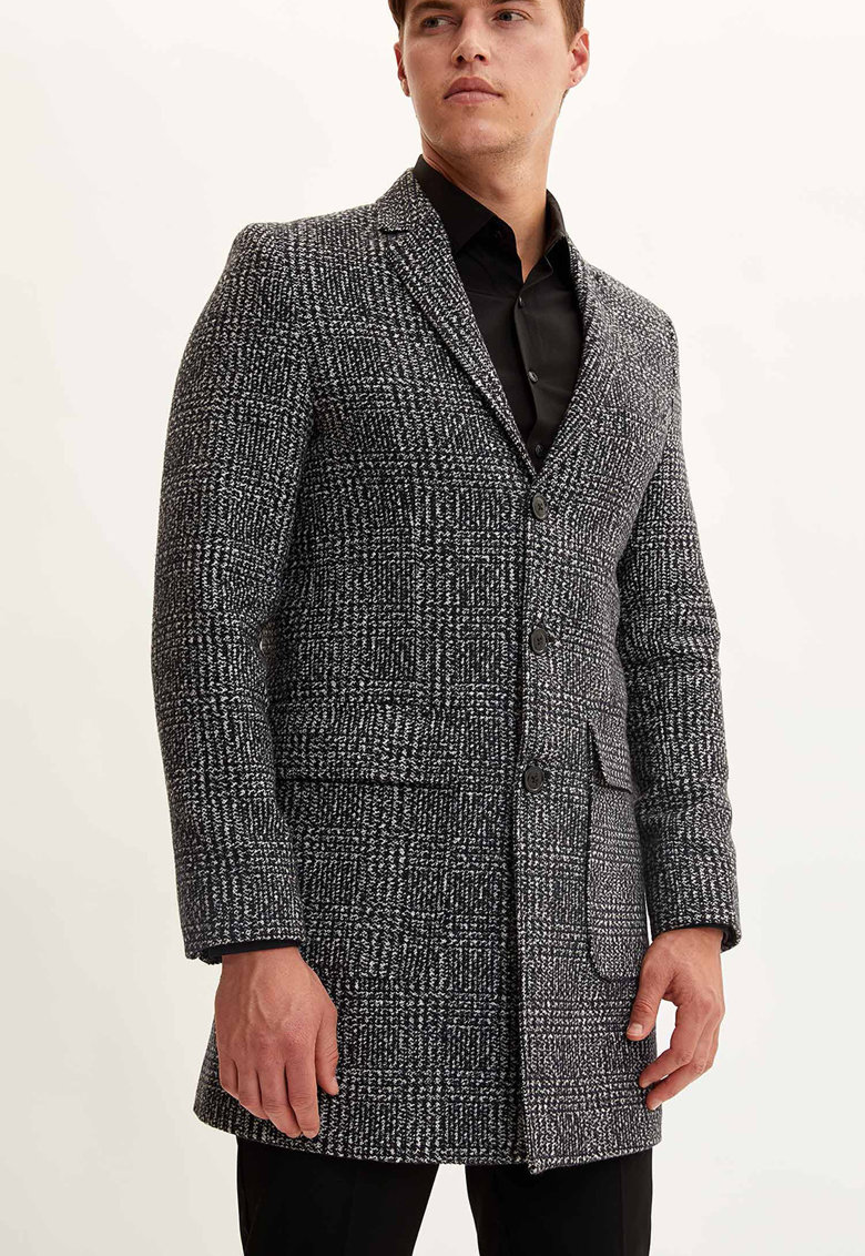 Palton din amestec de lana in carouri de la DeFacto