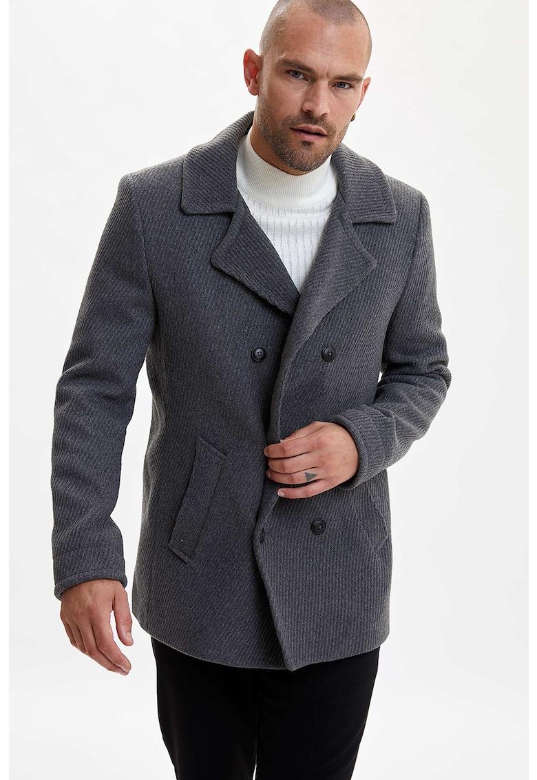 Haina scurta din amestec de lana cu doua randuri de nasturi imagine