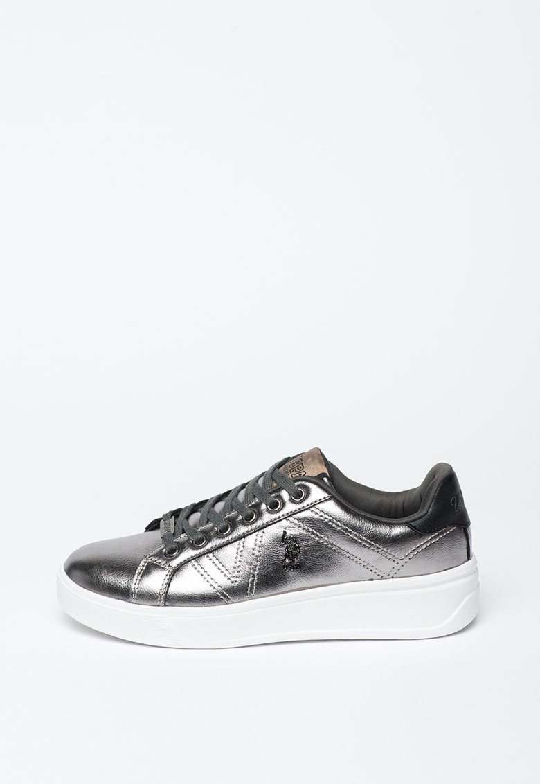 Pantofi sport din piele ecologica cu aspect metalic Extra