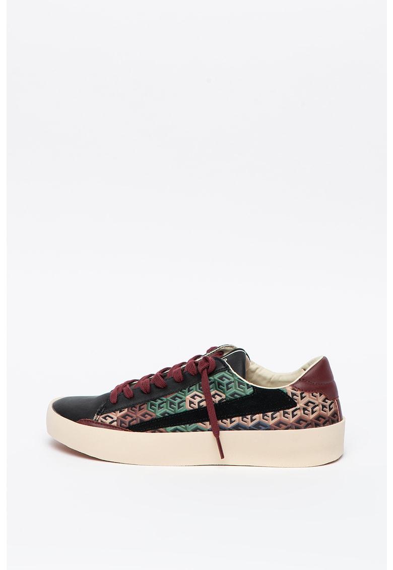 Pantofi sport din piele si piele ecologica cu model geometric