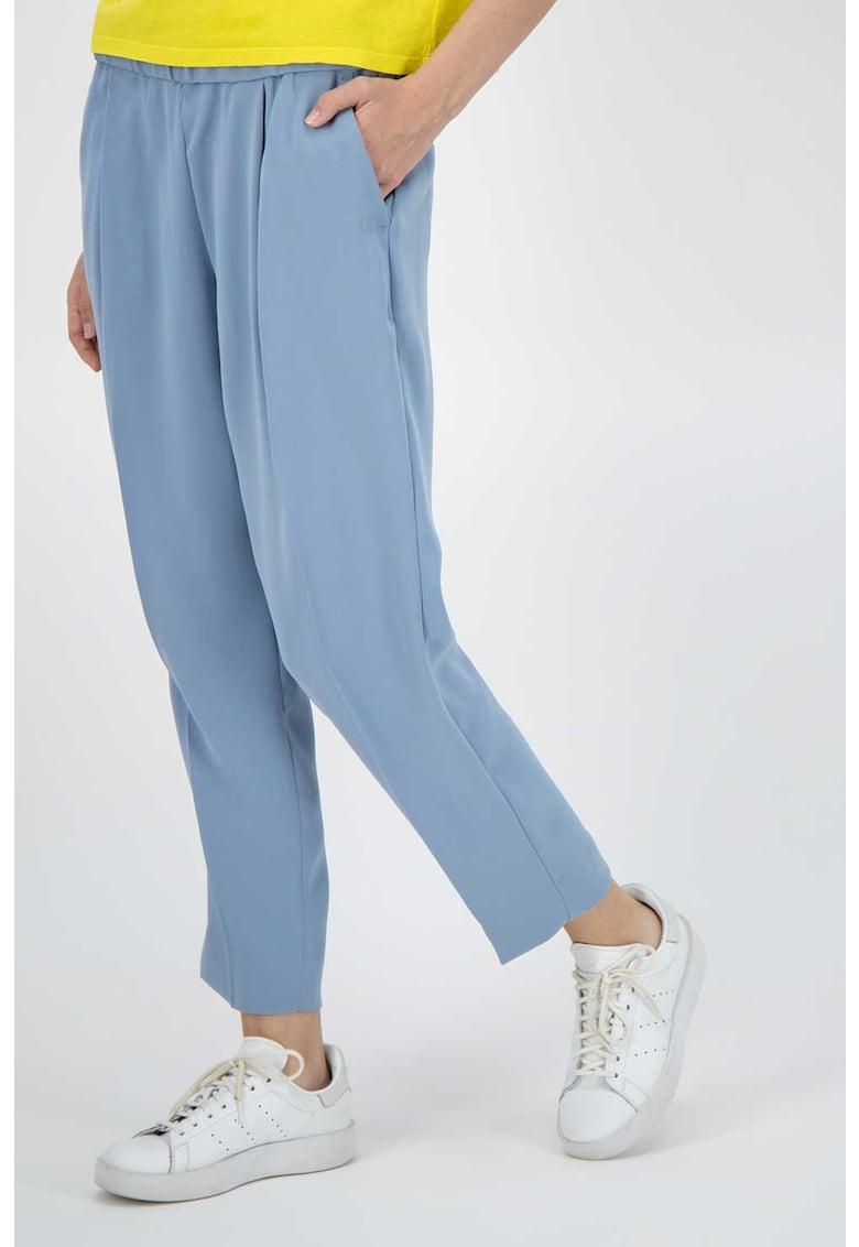 Pantaloni crop conici cu talie elastica