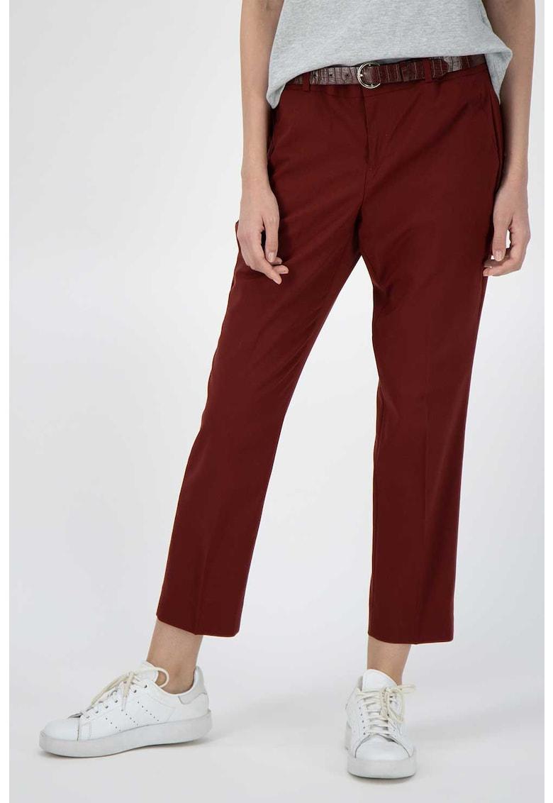 Pantaloni crop chino din amestec de lana