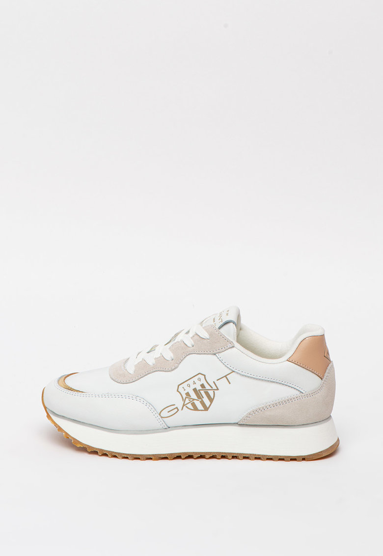 Pantofi sport de piele intoarsa si piele - cu garnituri de material textil