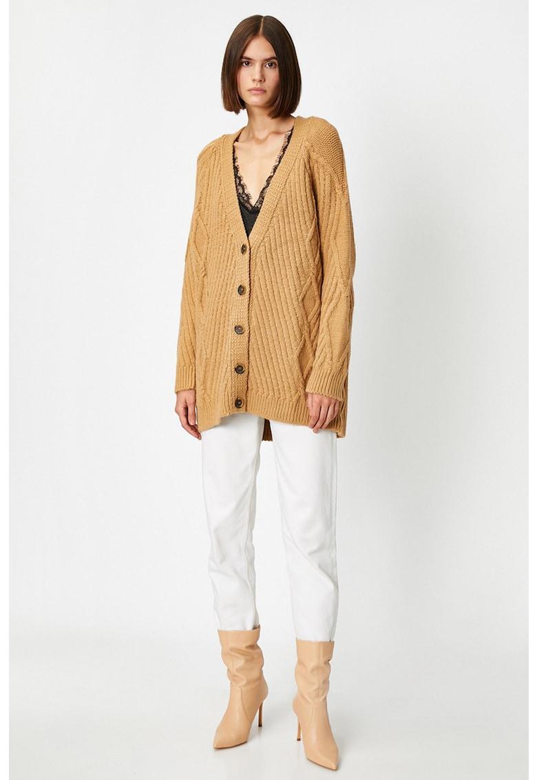Cardigan tricotat cu decolteu in V