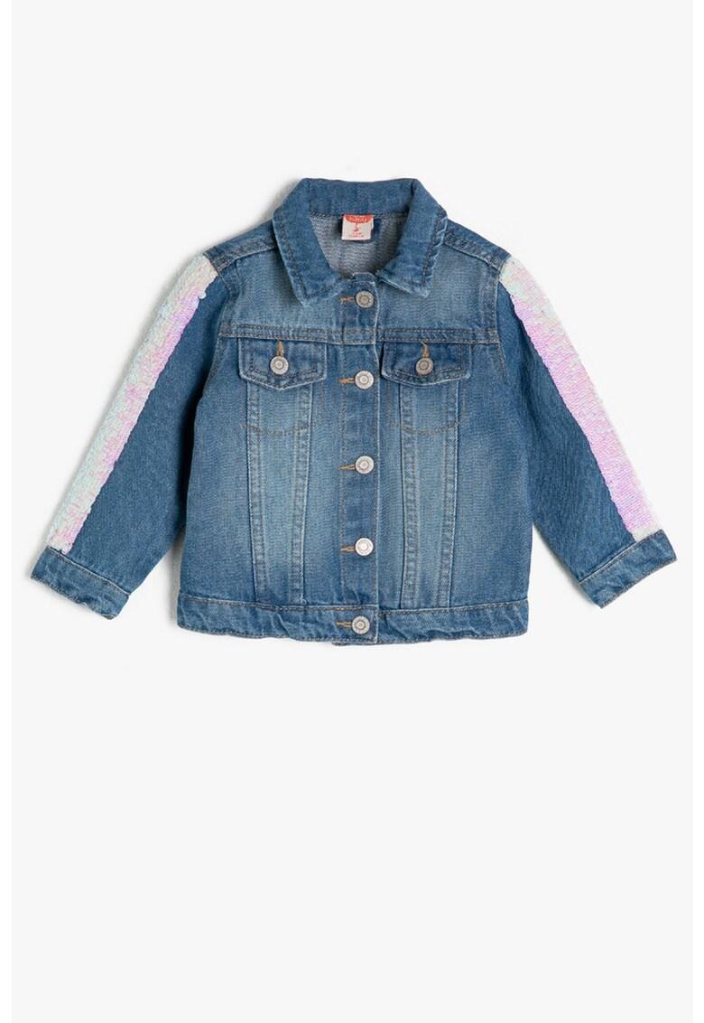 Jacheta din denim cu aplicatii de paiete