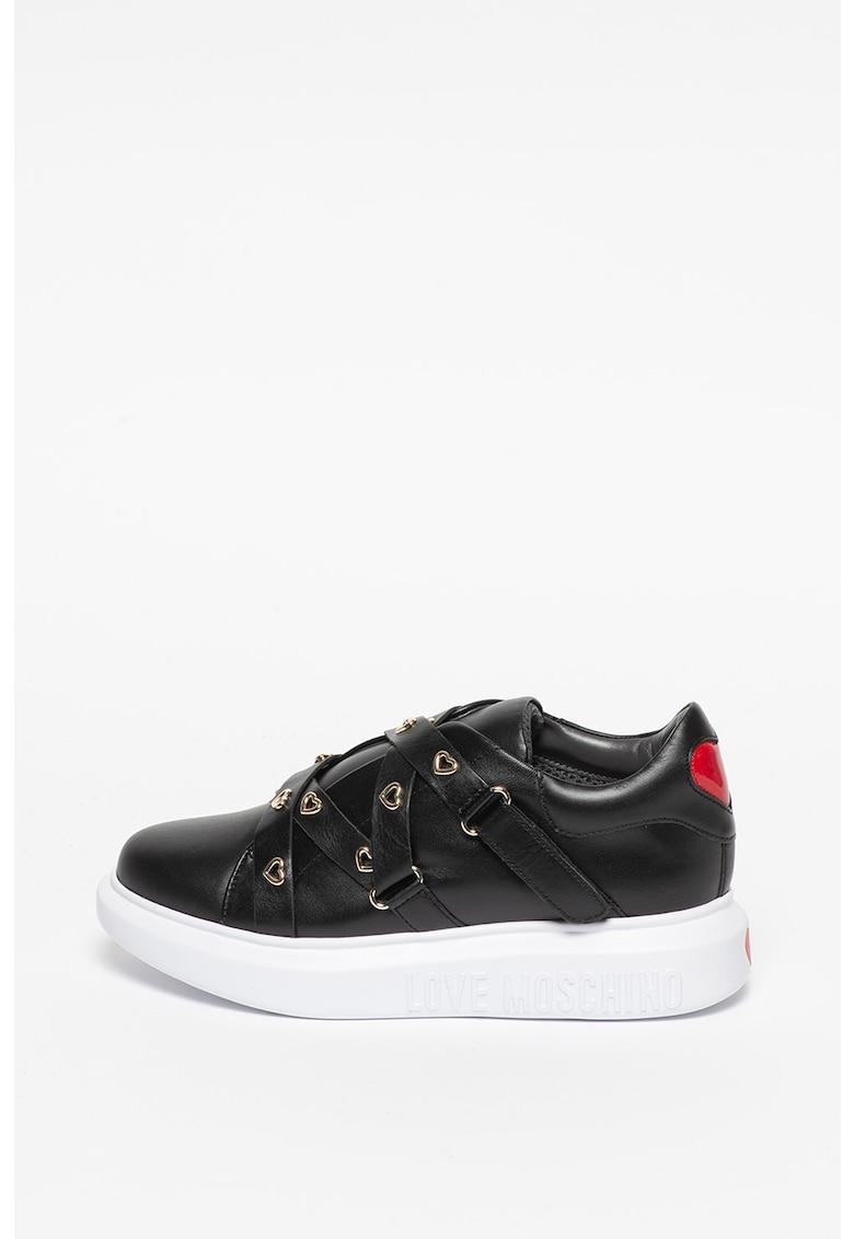 Pantofi sport de piele si piele ecologica - cu benzi velcro