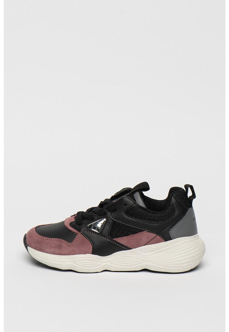 Pantofi sport de piele intoarsa si piele ecologica cu aspect masiv Bubblex de la Geox