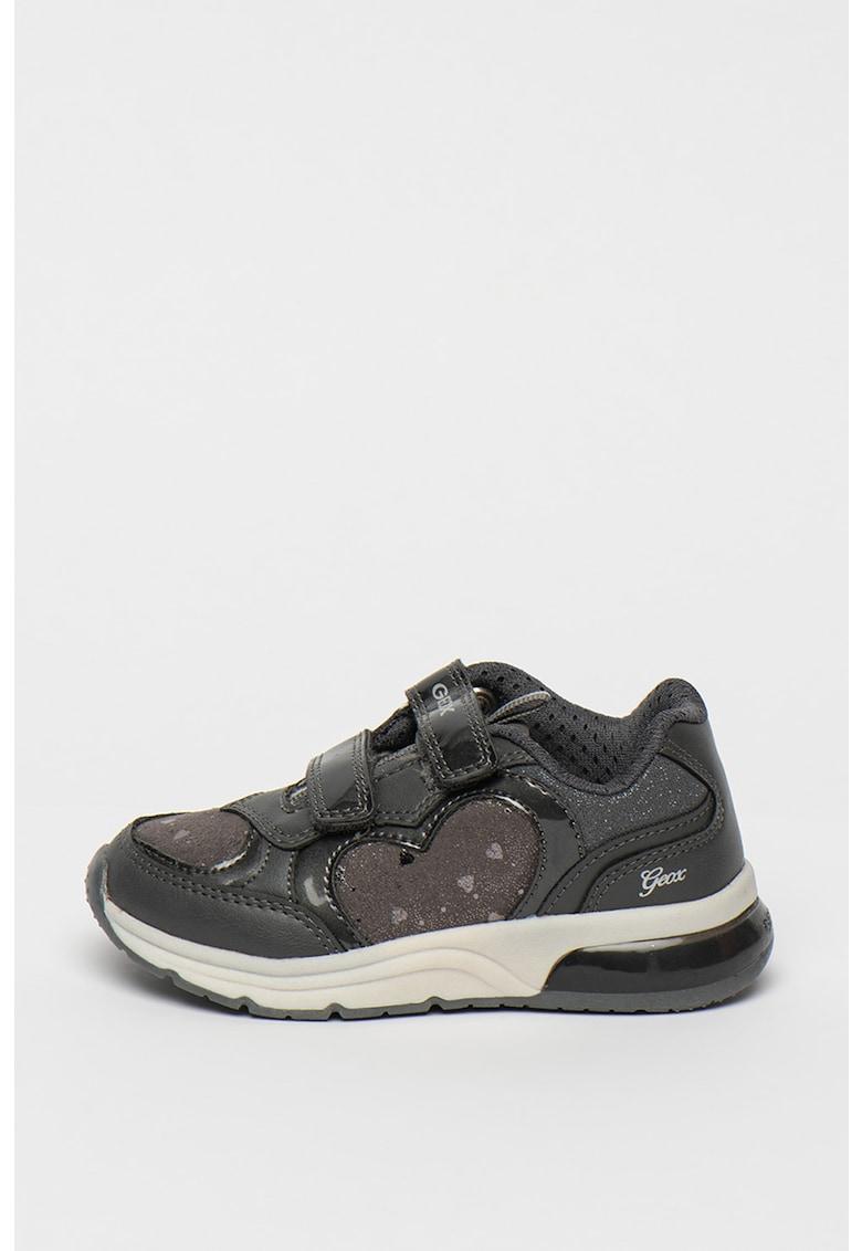 Pantofi sport de piele ecologica cu lumini LED Spaceclub de la Geox