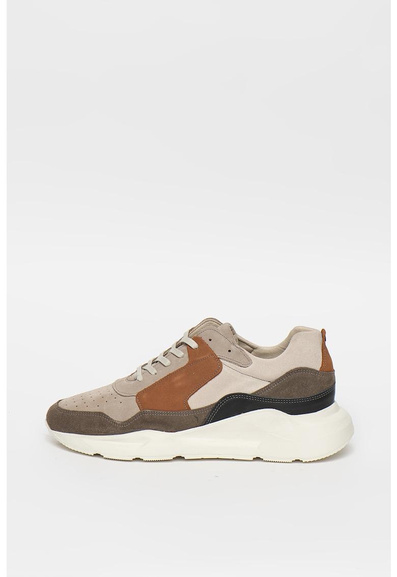 Pantofi sport de piele intoarsa - cu model colorblock