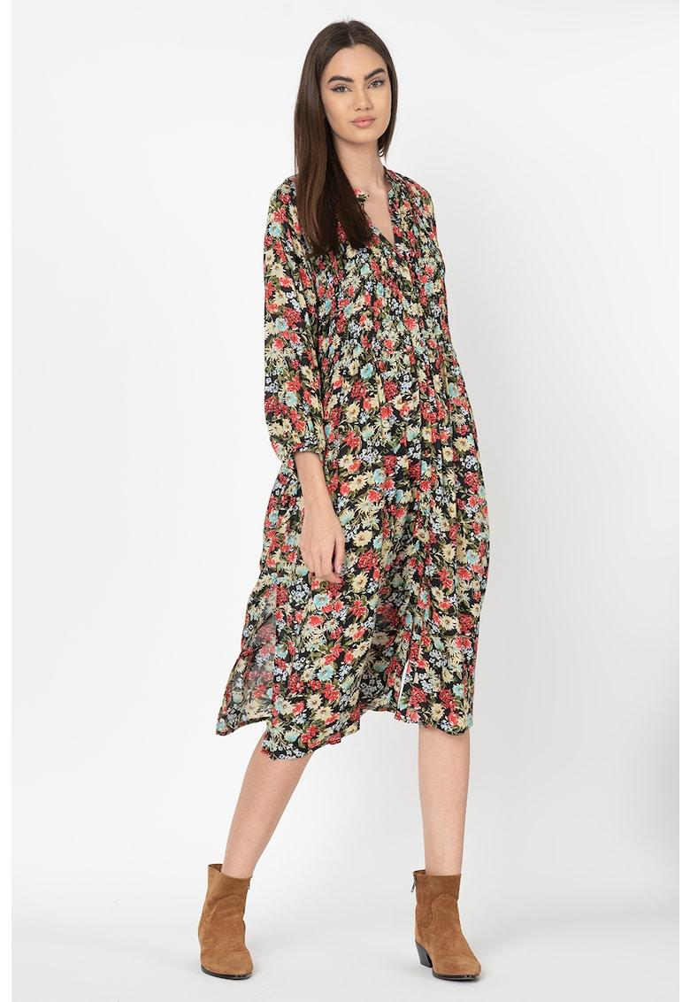 Rochie tip camasa cu imprimeu floral - din modal