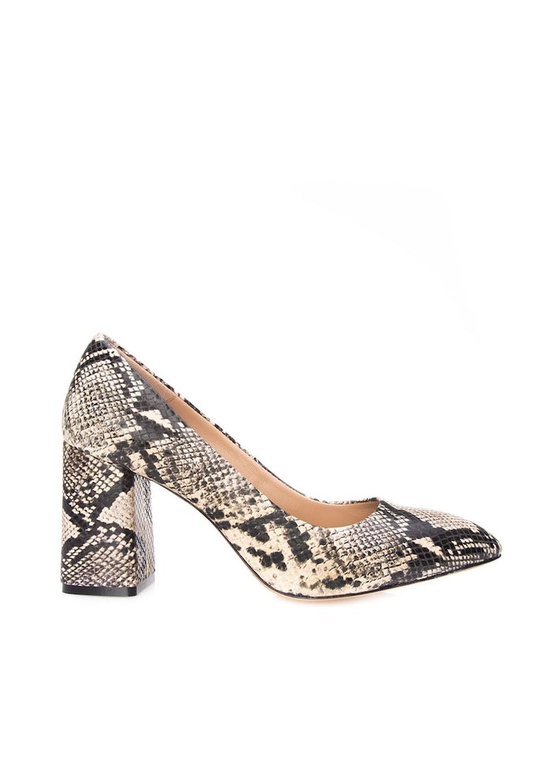 Pantofi din piele cu varf ascutit si aspect de piele de sarpe Janeth de la Il Passo