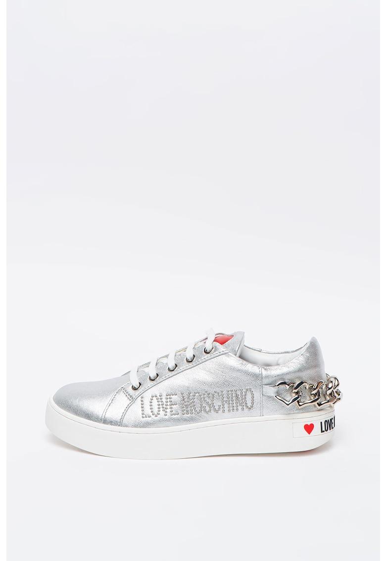 Pantofi sport cu aspect metalizat si garnituri de piele poza fashiondays