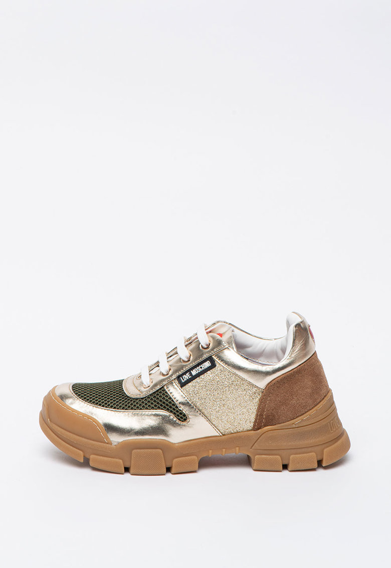 Pantofi sport cu aspect metalizat