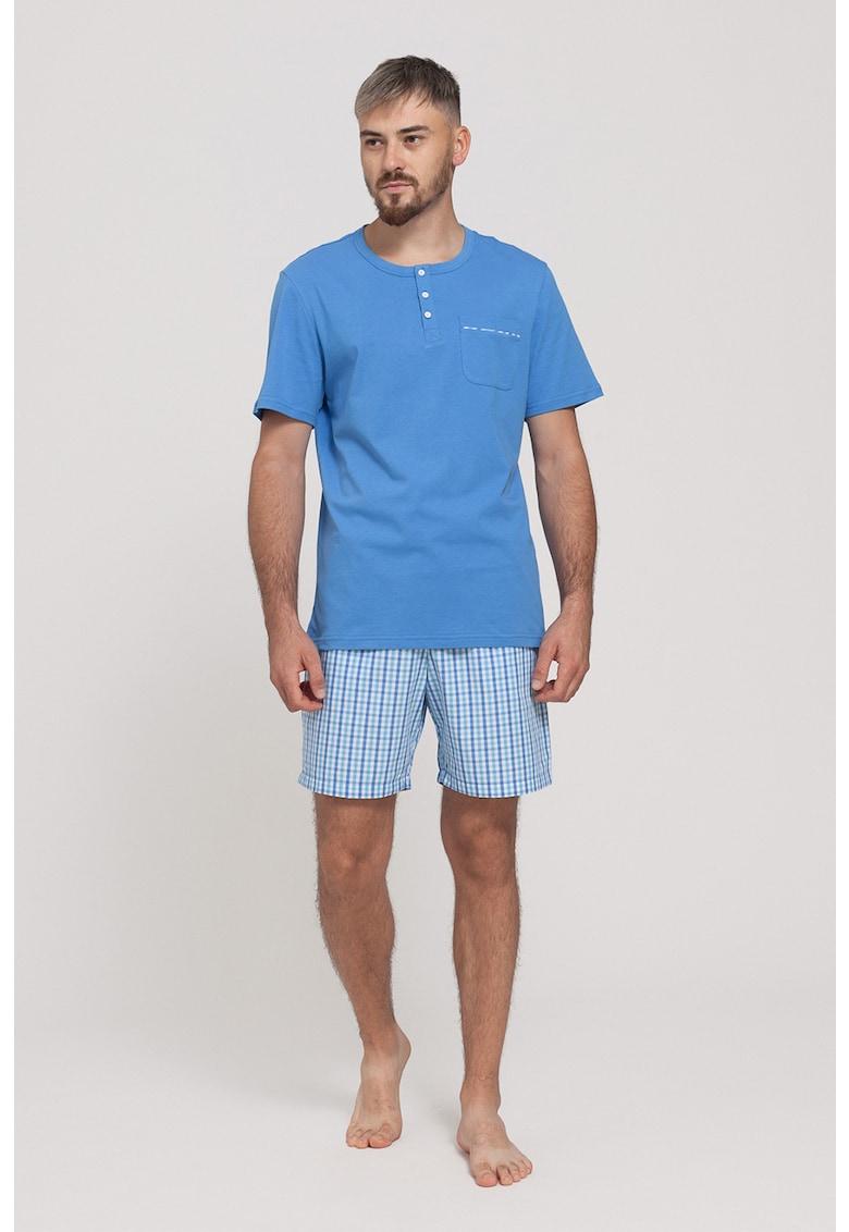 Pijama cu pantaloni cu model in carouri imagine