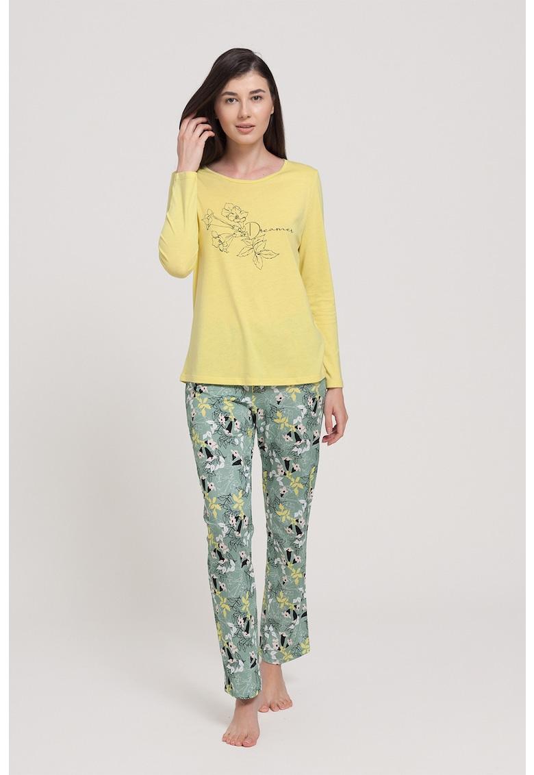 Pijama din amestec de modal - cu bluza si pantaloni - cu model floral imagine fashiondays.ro