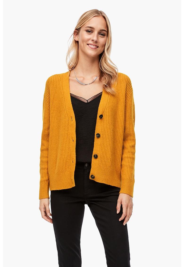 Cardigan din amestec de lana cu striatii si decolteu in V
