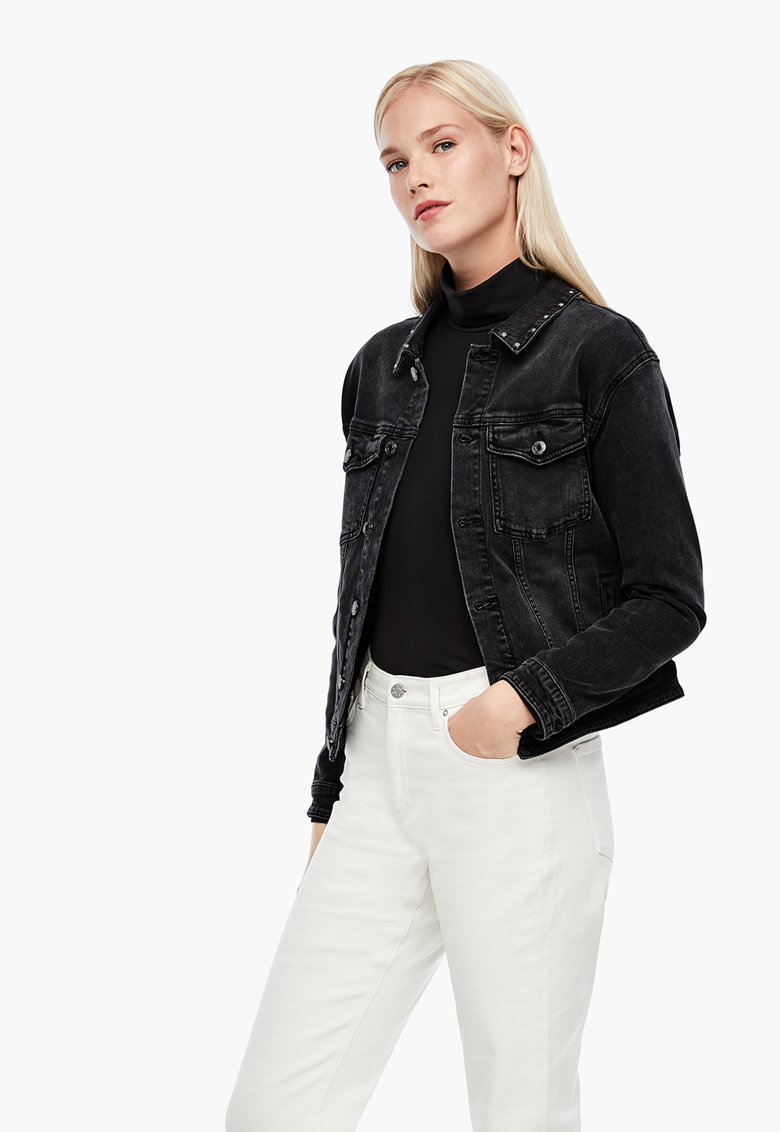 Jacheta din denim cu buzunare aplicate