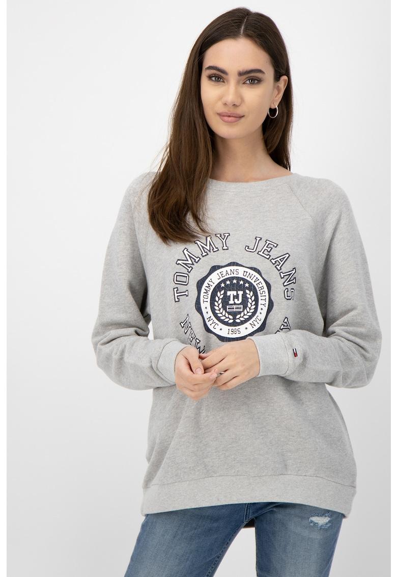 Bluza sport cu imprimeu logo si maneci raglan imagine