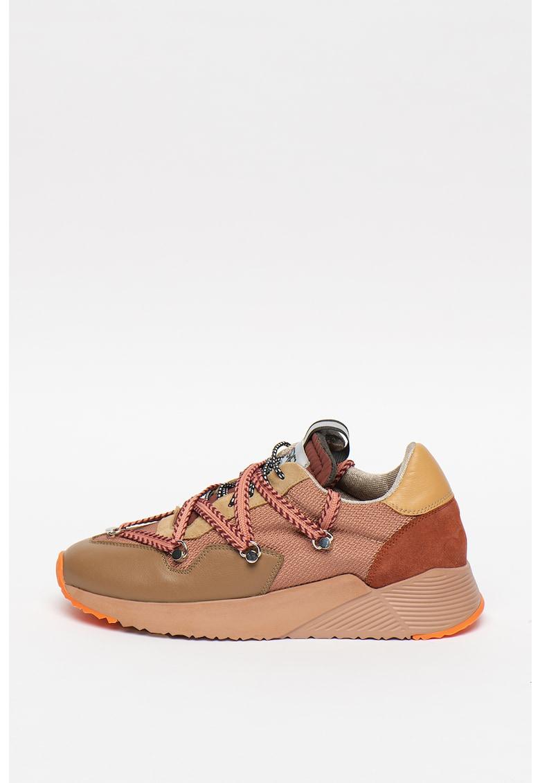 Pantofi sport din piele cu talpa wedge si insertii din piele intoarsa