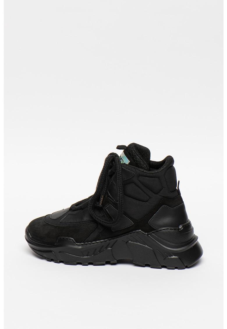 Pantofi sport mid-cut din piele cu talpa wedge