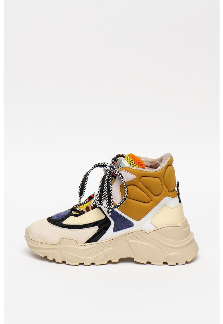 Pantofi sport mid-cut din piele cu talpa wedge si model colorblock