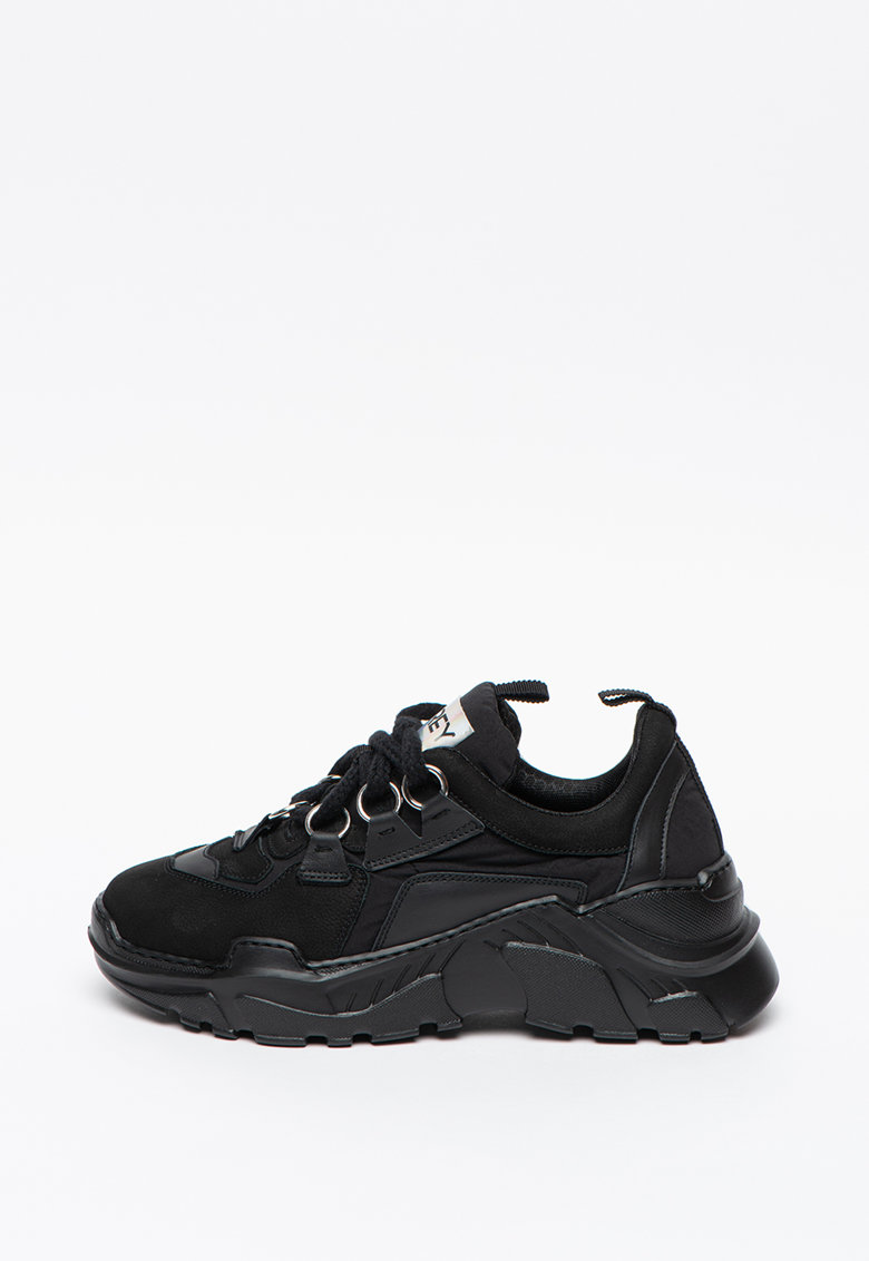 Pantofi sport de piele si material textil cu talpa masiv Zen