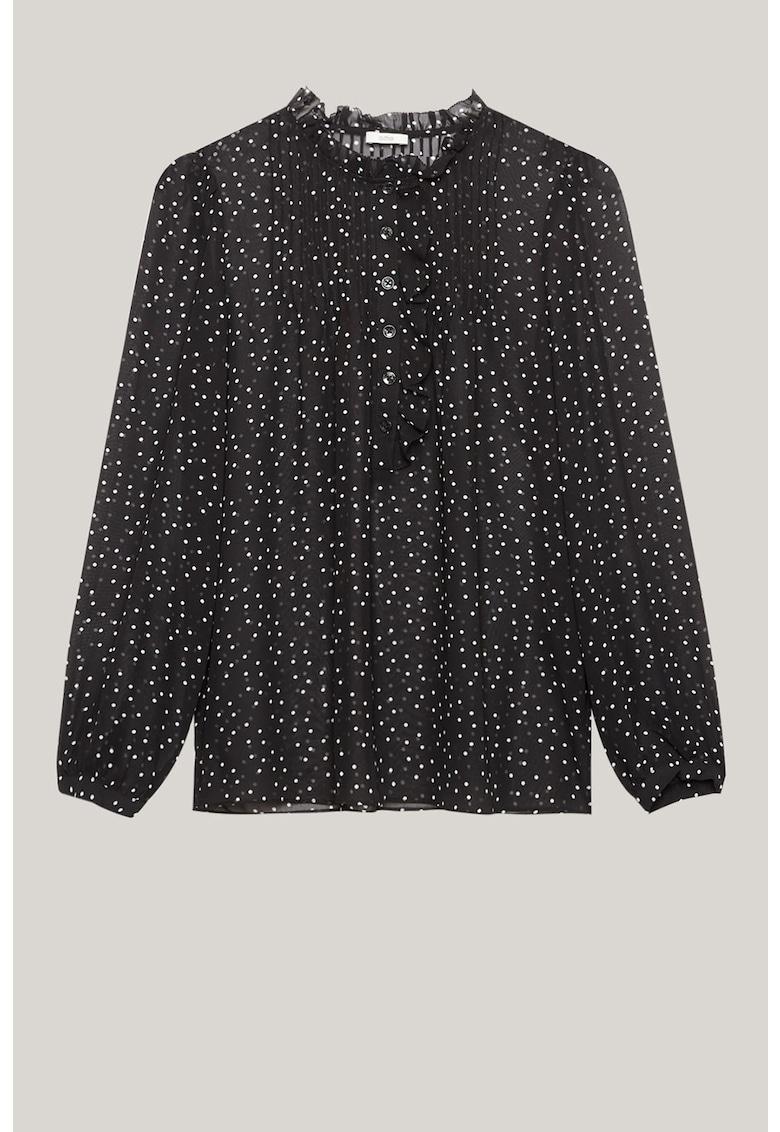 Bluza cu imprimeu cu buline si fenta cu nasturi imagine