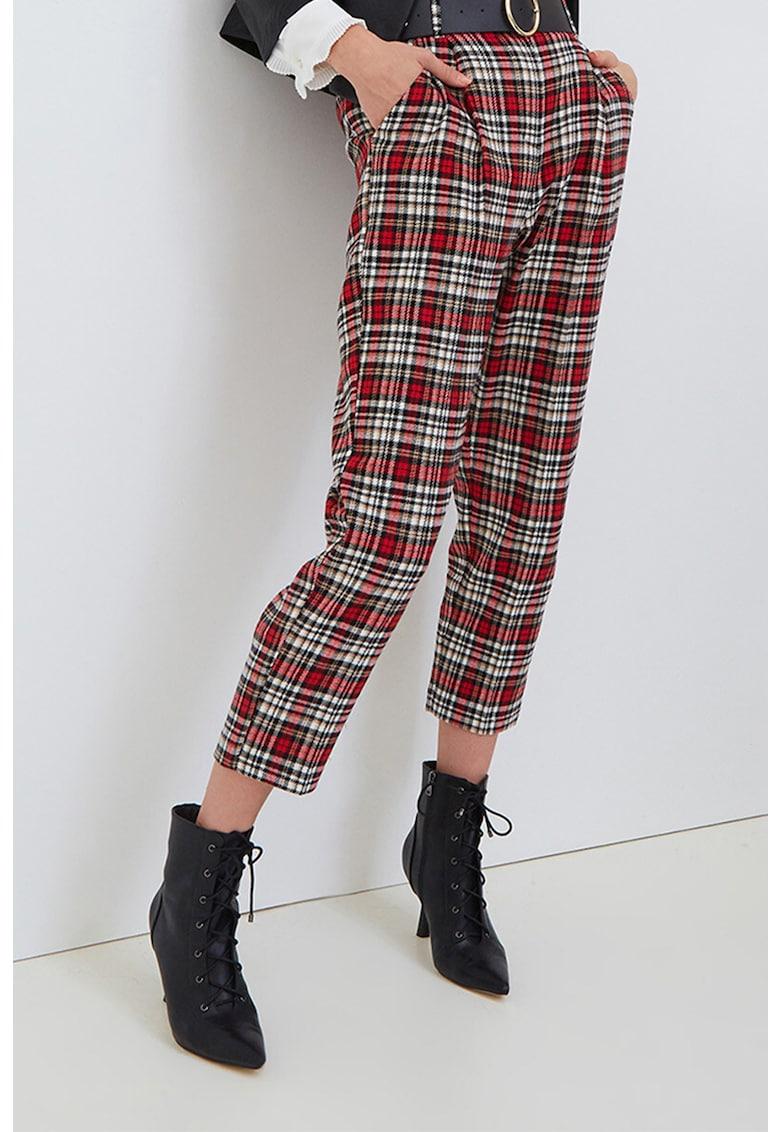 Pantaloni crop in carouri poza fashiondays