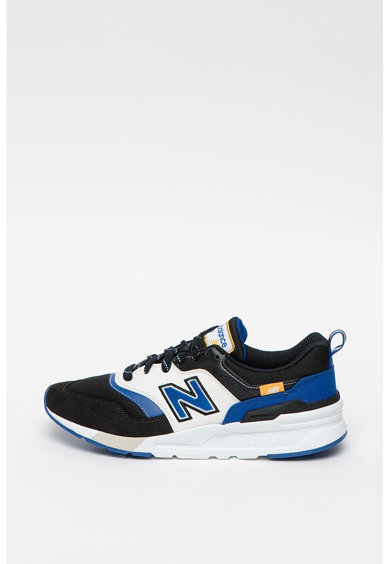 Pantofi sport de piele intoarsa si piele - cu model colorblock 997H imagine