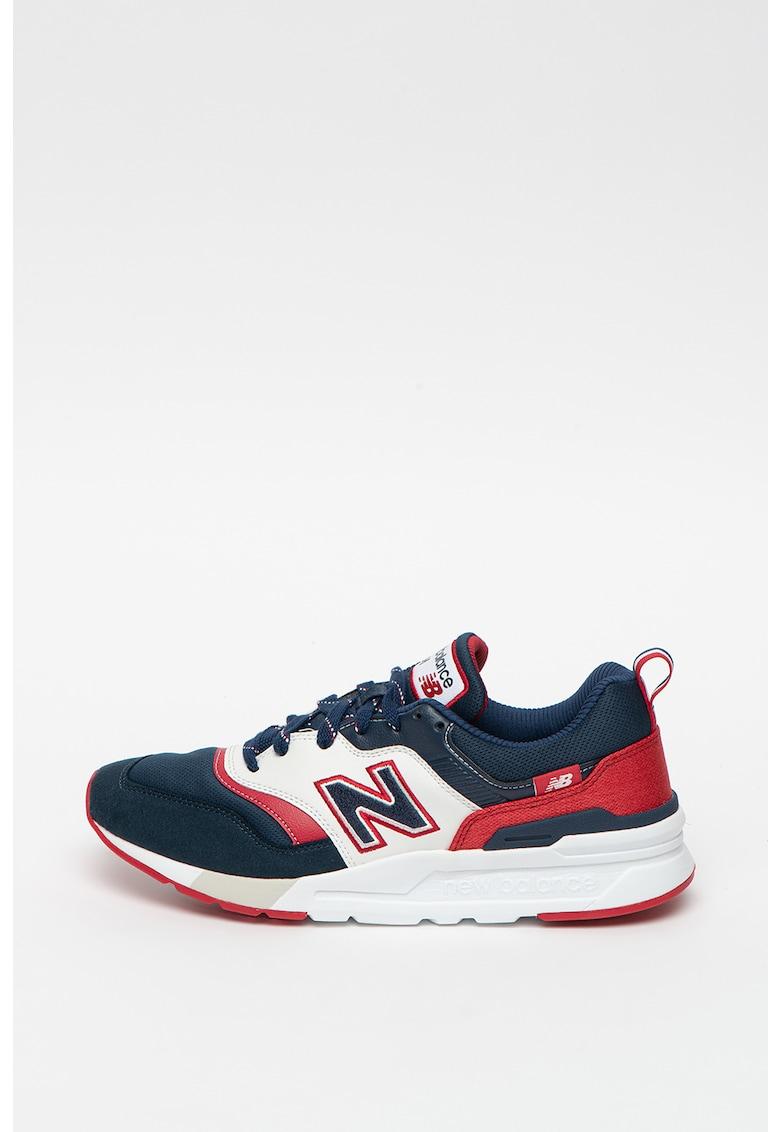 Pantofi sport de piele intoarsa si piele - cu model colorblock 997H