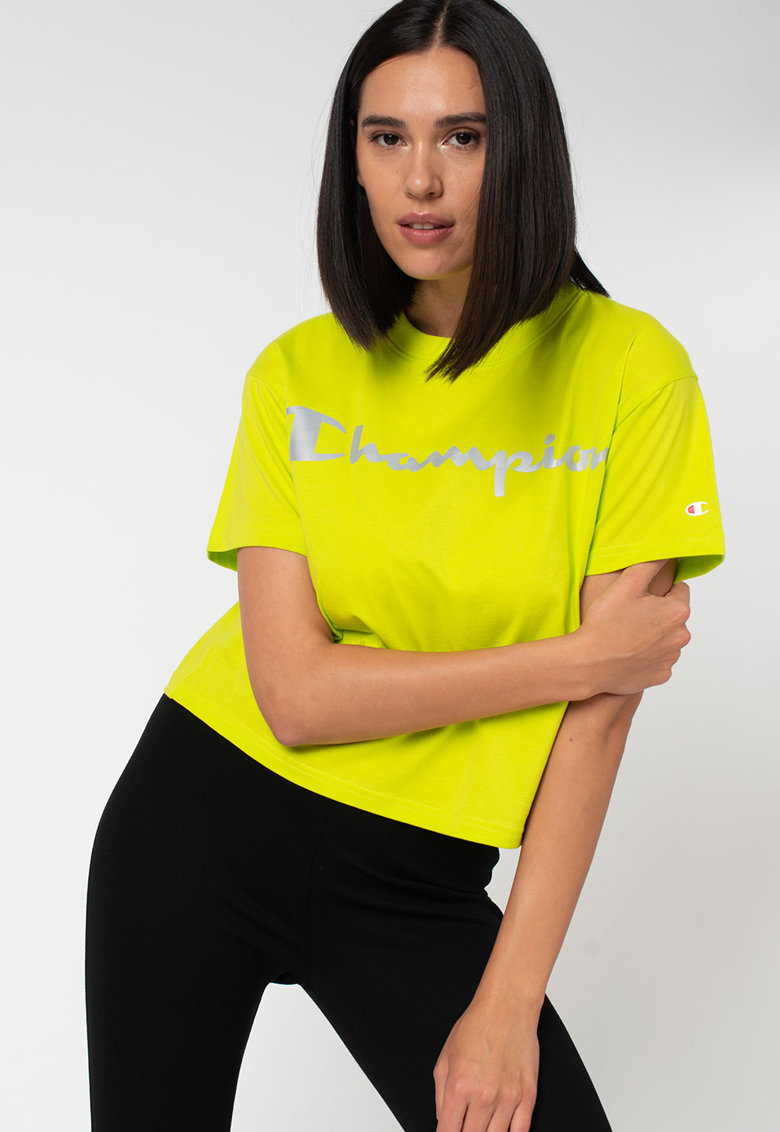 Tricou cu imprimeu logo si decolteu la baza gatului imagine promotie