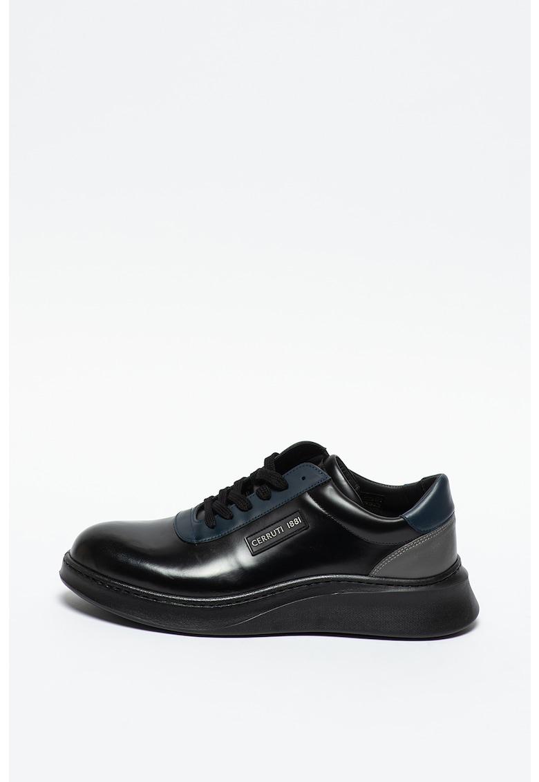 Pantofi sport de piele cu model colorblock imagine