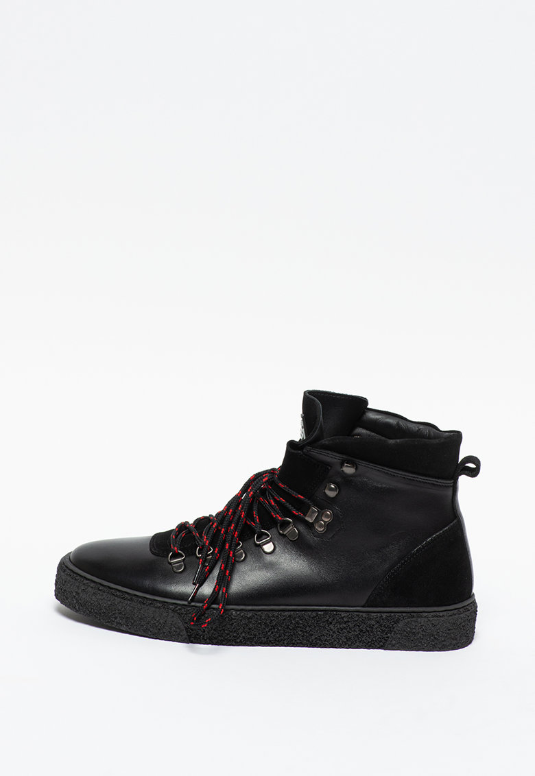 Pantofi sport high-top de piele cu garnituri de piele intoarsa