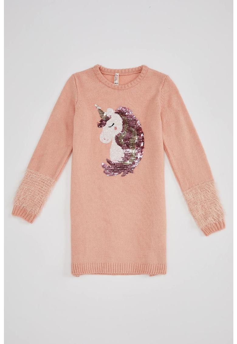 Rochie tip pulover cu aplicatie cu unicorn cu paiete
