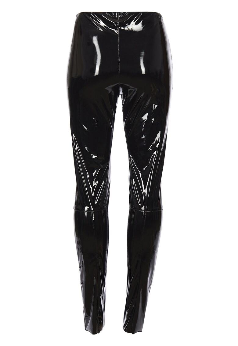 Pantaloni super skinny de vinil cu talie inalta imagine fashiondays.ro