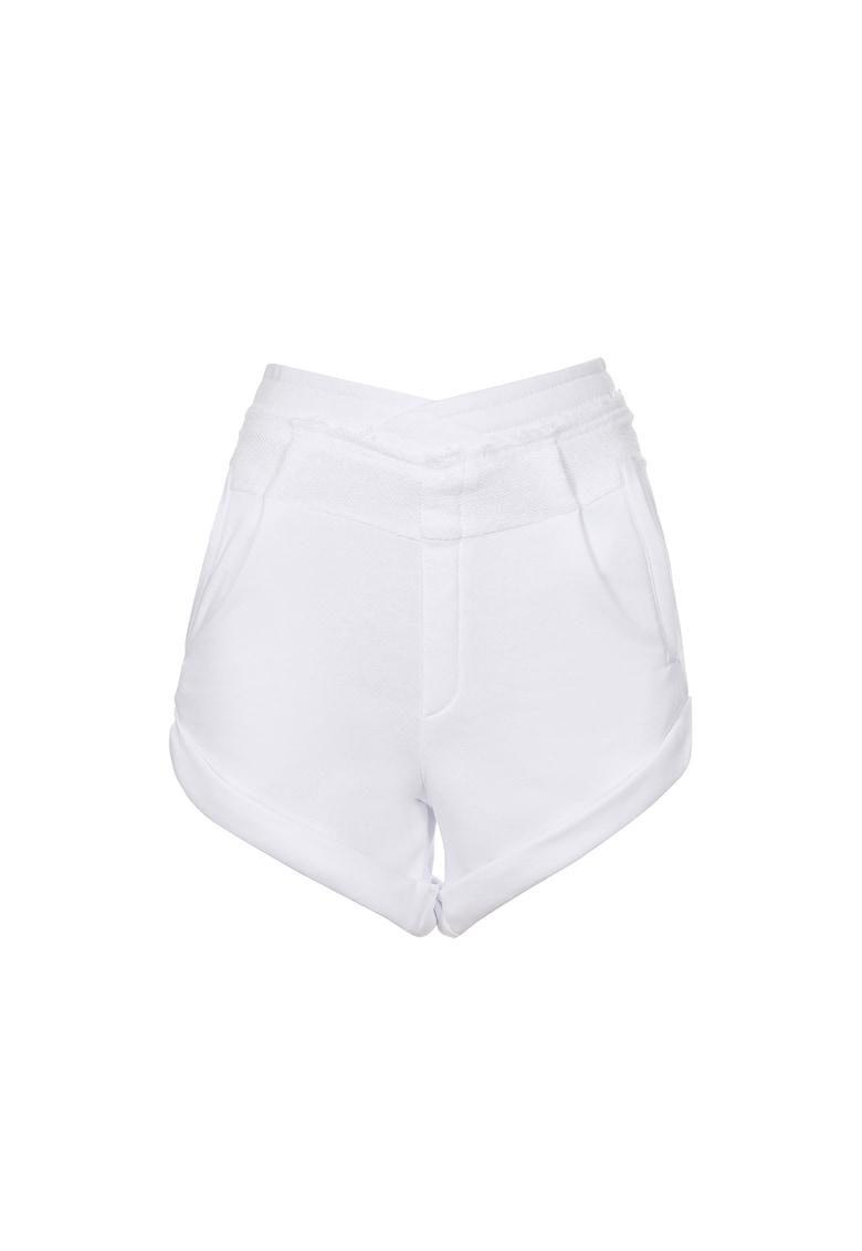 Pantaloni scurti cu talie inalta si terminatie pliabila imagine